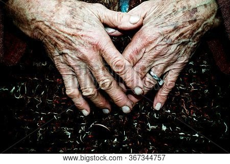 Old Age Woman Hands Detail