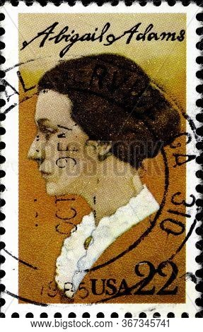 02.11.2020 Divnoe Stavropol Territory Russia Postage Stamp Usa 1985 Abigail Adams 1744-1818 Portrait