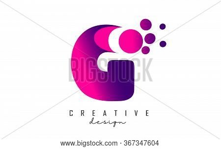 G Dots Letter Logo With Purple Pink Bubbles Vector Illustration. Dots Illustration With G Letter.