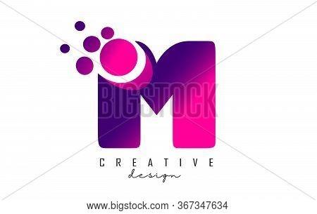 M Dots Letter Logo With Purple Pink Bubbles Vector Illustration. Dots Illustration With M Letter.