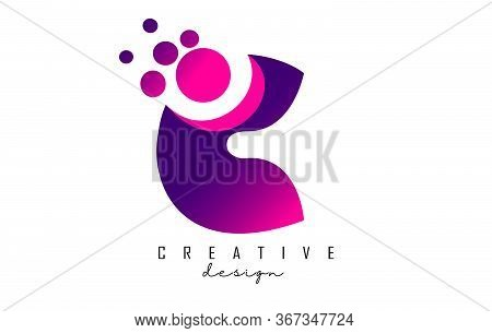C Dots Letter Logo With Purple Pink Bubbles Vector Illustration. Dots Illustration With C Letter.