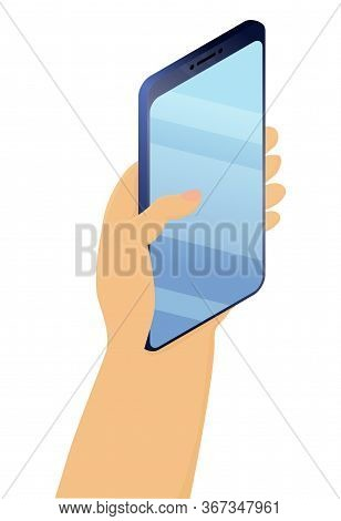 Hand Holds Smartphone With Blank Screen.mobile Phone In Hand Isolated On White Background. Template,