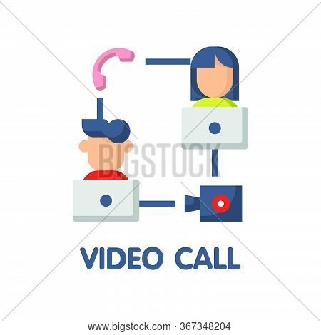 Video Call Flat Icon Style Design Illustration On White Background