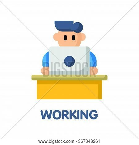 Work From Home On Table Flat Icon Style Design Illustration On White Background