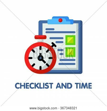 Checklist And Time  Flat Icon Style Design Illustration On White Background