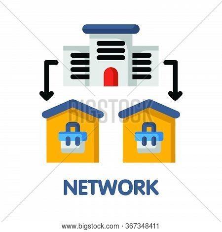 Network Flat Icon Style Design Illustration On White Background