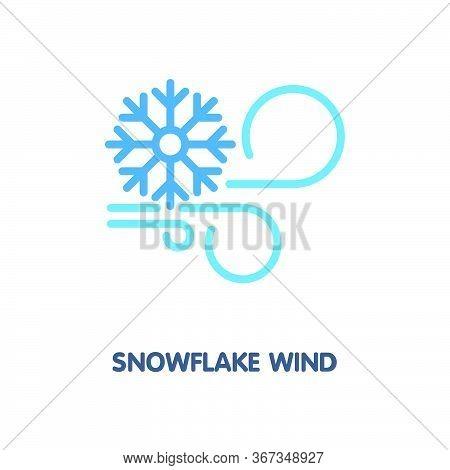 Snowflake Wind Flat Icon Design Style Illustration On White Background