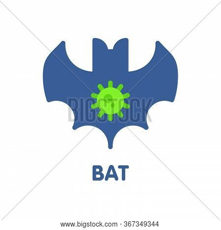 Bat Virus Flat Icon Style Design Illustration On White Background