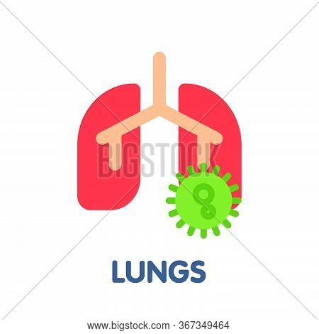Lungs Flat Icon Style Design Illustration On White Background