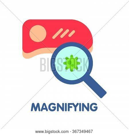Magnifying Flat Icon Style Design Illustration On White Background
