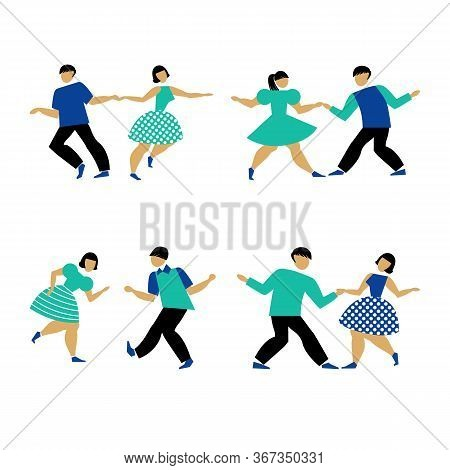 Dancing Couple Set On White Background. The Guy And The Girl Are Dancing Swing, Rock And Roll Or Lin