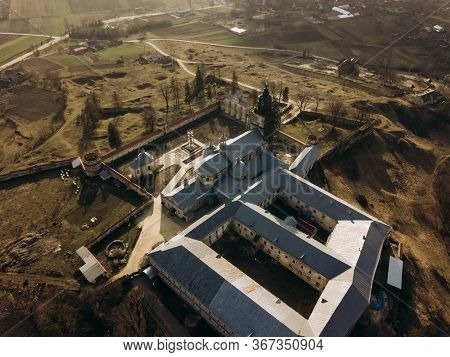 Morning Aerial Top View Frome Drone To Pidkamin Castle Monastery, Ukraine