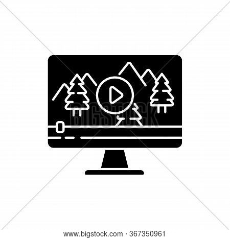 Nature Documentary Black Glyph Icon. Travel Blog Video Watching. Ecology And Tourism Non-fictional M