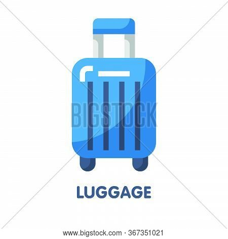 Blue Luggage For Trip Flat Icon Vector Design
