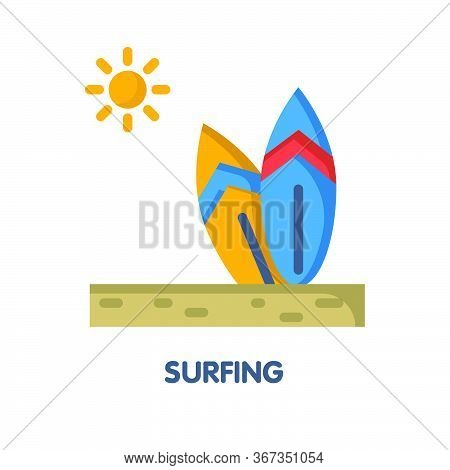Surfing On The Beach Flat Icon Design