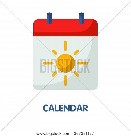 Calendar With Summer Time Flat Icon Design