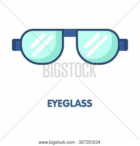 Eyeglass Flat Icon Design