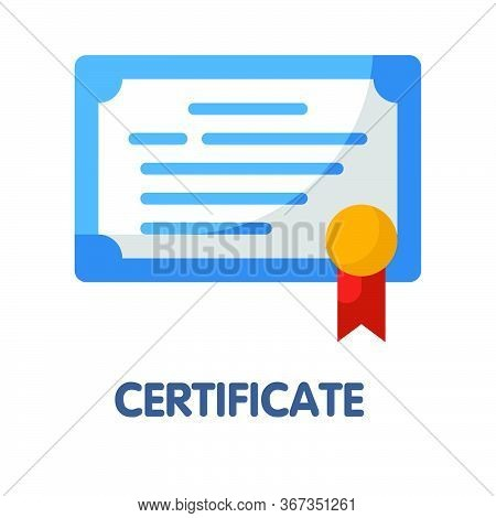 Certificate Flat Style Icon Design  Illustration On White Background
