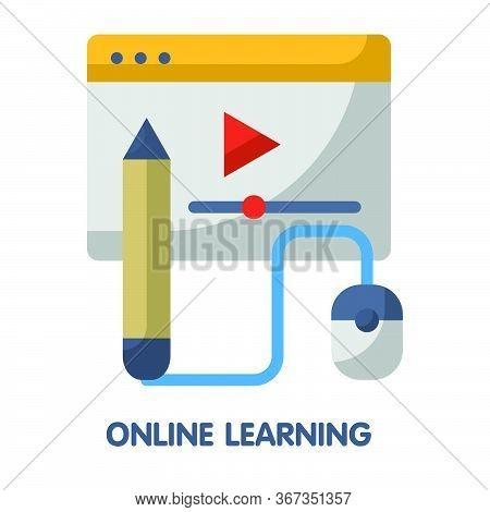 Online Learning  Flat Style Icon Design  Illustration On White Background