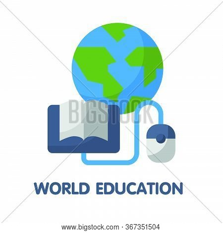 World Education  Flat Style Icon Design  Illustration On White Background