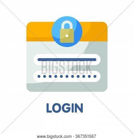Login Password  Flat Style Icon Design  Illustration On White Background