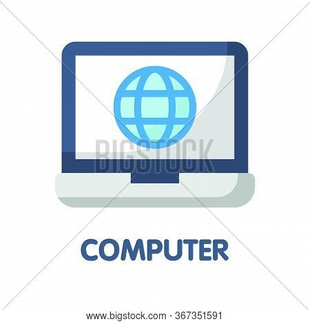 Icon Computer In Flat Style Design  Illustration On White Background
