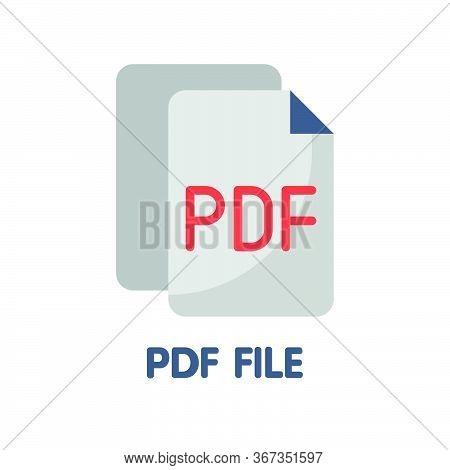 Icon Pdf File In Flat Style Design  Illustration On White Background