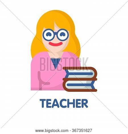 Icon Teacher In Flat Style Design  Illustration On White Background