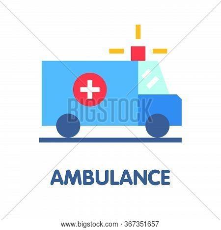 Icon Ambulance  Flat Style Icon Design  Illustration On White Background