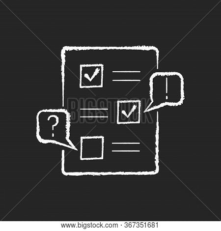 Edit Chalk White Icon On Black Background. Checklist For Draft. Examine Paperwork For Errors. Write