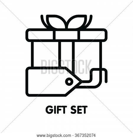 Icon Gift Set  Outline Style Icon Design  Illustration On White Background