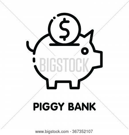 Icon Piggy Bank Save Money Outline Style Icon Design  Illustration On White Background