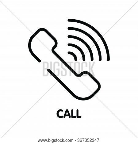 Icon Call Contact Outline Style Icon Design  Illustration On White Background