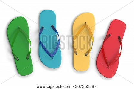 Flat Lay Of A Composed Flip Flops. Colorful Flip Flops Isolated On A White Background, 3d Render. Va