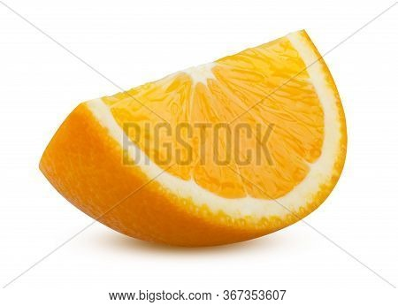 Slice Of Orange Isolated On White Background. Ripe And Delicious Citrus Fruit Close Up. Appetizing S