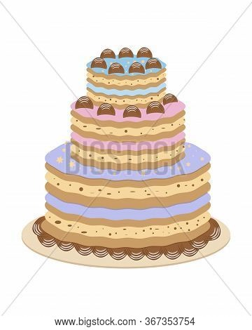 Card With Cake Birthday Sweet. Isolated Vector Illustration. Symbol, Sign. Cute Design. Happy Birthd