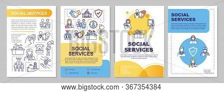 Social Service Brochure Template. Government Support. Flyer, Booklet, Leaflet Print, Cover Design Wi