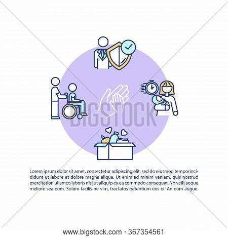 Caregiver Assistance Concept Icon With Text. Volunteer Support. Childcare, People Welfare. Ppt Page