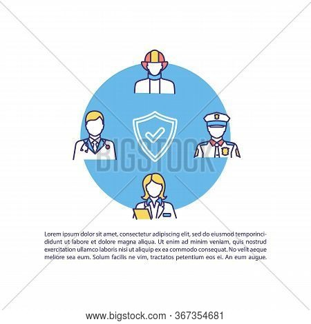 Social Workers Concept Icon With Text. Government Employee For Public Welfare. Doctor And Firefighte