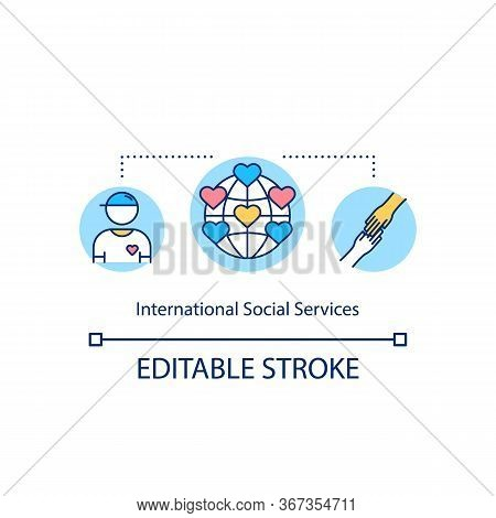 International Social Services Concept Icon. Assistance For People In Need. Global Welfare Organizati