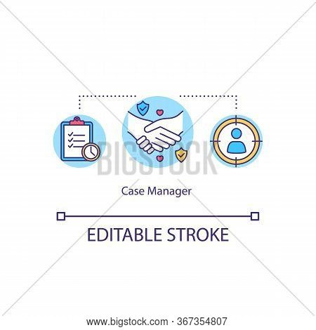 Case Manager Concept Icon. Help With Recruitment. Support For Client. Job Interview. Social Worker S
