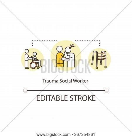 Trauma Social Worker Concept Icon. Physical And Mental Disability Assistance. Health Care Volunteer.