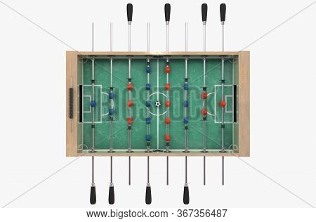 A Full View Of A Wooden Foosball Table With Teams In Red And Blue On An Isolated White Studio Backgr