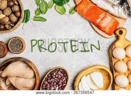 High Protein Food On Light Bakground. Healthy Nutrition Or Diet Concept. Products For Strong Hair. T