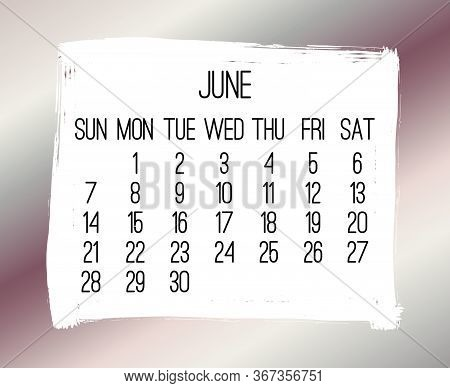 June Year 2020 Vector Monthly Modern Calendar. Week Starting From Sunday. Contemporary Bronze Brush