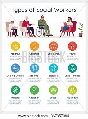 Types Of Social Worker Vector Infographic Template. Psychological Therapy Ui Web Banner With Flat Ch