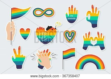 Set Of Icons On A Theme The Lgbtq. Various Rainbow Symbols - Rainbow, Hands, Flags, Hearts. Gay Prid