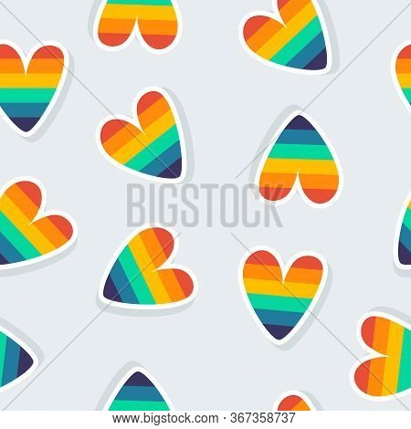Seamless Background With Rainbow Hearts. The Concept Of Lgbtq. Vector Illustration With Hearts, Seam