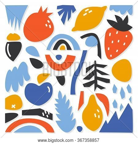 A Collection Of Various Abstract Shapes And Figures Drawn By Hand. Modern And Trendy Vector Illustra