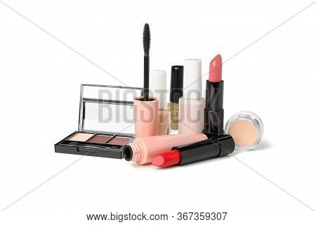 Different Makeup Cosmetics Isolated On White Background. Female Accessories